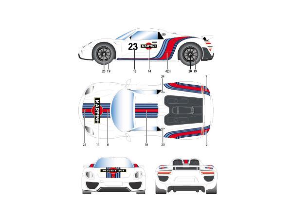 "STU27DC1115 Porsche 918  ""Martini""  dressup decal Waterslide decal Decal"