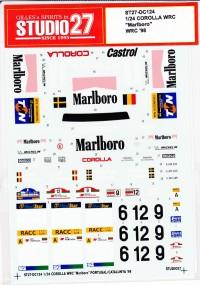 """STU27DC124 Toyota Corolla WRC  """"Marlboro""""  WRC  1998 Waterslide decal Decal"""