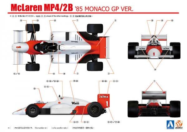 BEE20002 Mclaren MP4/2B 1985 Monaco GP Plastic Kit