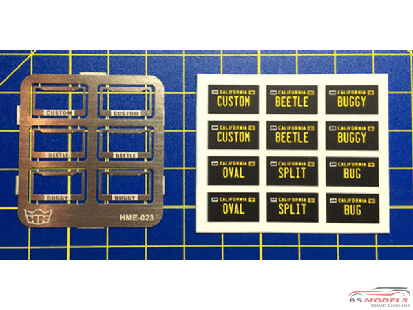 HME023 License plate frames + plates set 2 Etched metal Accessoires