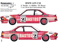"TK24-336 BMW 635 CSI  ""Bastos""  winner 24H Spa-Francorchamps 1983 decal Waterslide decal Decal"