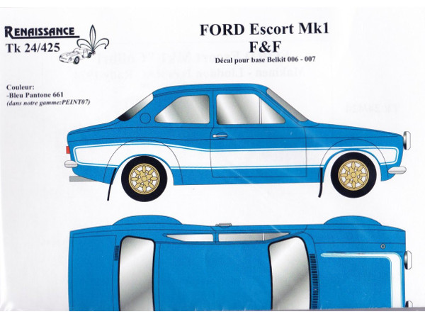 "TK24-425 Ford Escort MK1 ""Fast and Furious 6""  decal Waterslide decal Decal"