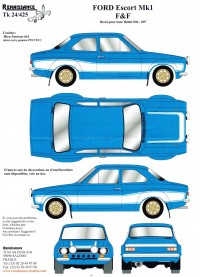 """TK24-425 Ford Escort MK1 """"Fast and Furious 6""""  decal Waterslide decal Decal"""