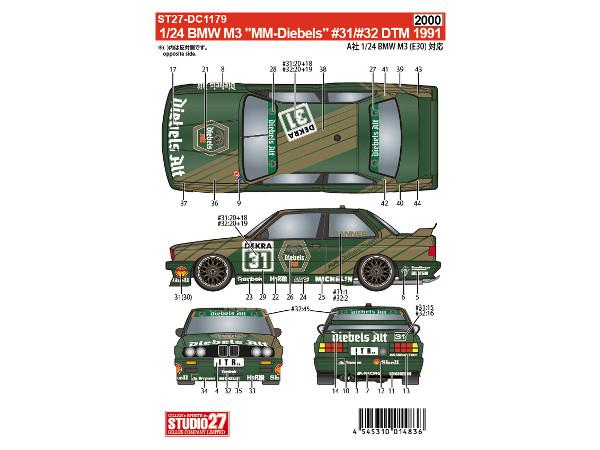"""STU27DC1179 BMW  M3  """"MM-Diebels Alt"""" #31/32 Danner/Rensing  DTM 1991 Waterslide decal Decal"""