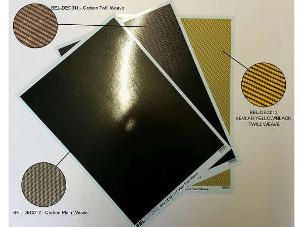 BELDEC013 Kevlar yellow/black Twill Weave (Belkits-Cartograf) Waterslide decal Decal