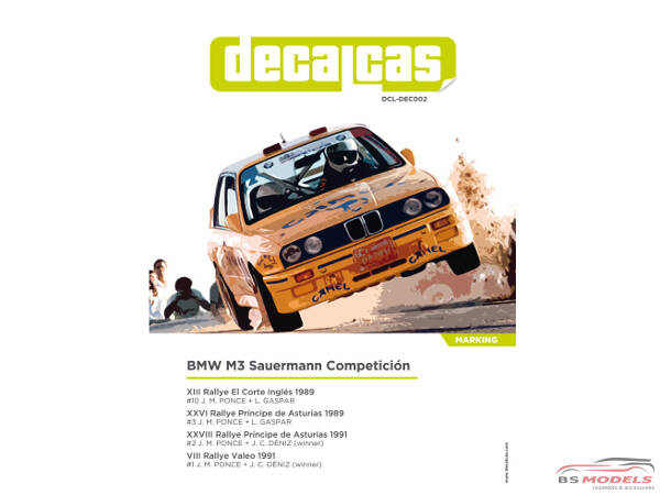 """DCLDEC002 BMW M3 E30 Sauermann Competion  """"Camel""""  1991 Waterslide decal Decal"""