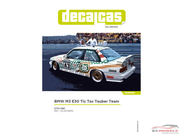 DCLDEC005 BMW M3 E30 Tic Tac Tauber team  DTM 1991 Waterslide decal Decal