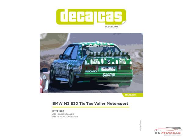 DCLDEC006 BMW M3 E30 Tic Tac Valier Motorsport DTM 1992 Waterslide decal Decal