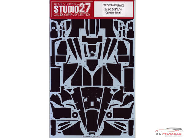 STU27CD20001 Mclaren MP4/4 carbon decal  (for TAM) Waterslide decal Decal