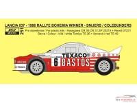 "REJI251 Lancia 037 ""Bastos"" Rally Bohemia 1986 winner"" - Snijers/Colebunders Waterslide decal Decal"