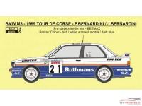 REJI264 BMW M3 - Tour de Corse 1989 - Rothmans - Bernardini/Bernardini Waterslide decal Decal