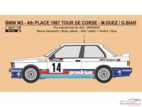 REJI270 BMW M3 - Tour de Corse 1987 - Prodrive - Duez/Biar Waterslide decal Decal