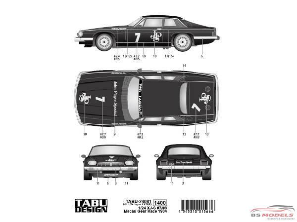 TABU24081 Jaguar XJ-S  #7#8  Macau 1984  JPS version Waterslide decal Decal