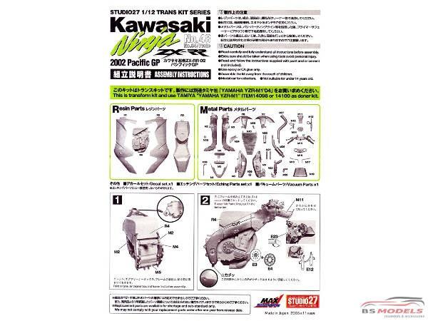 1:12 | STU27-TK1222C | Kawasaki Ninja ZX-RR Moto GP '02 Transkit