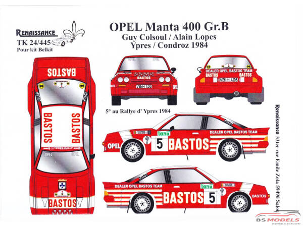 TK24445 Opel Manta 400 Bastos Ypres + Condroz 1984  Colsoul/Lopes decal Waterslide decal Decal