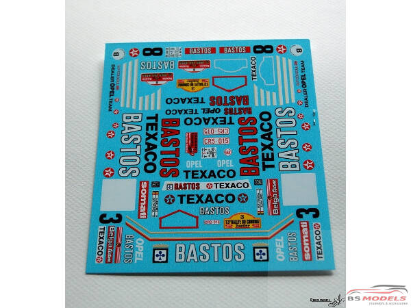 TK24447 Opel Manta 400 Bastos  Ypres+ Condroz 1986 Colsoul/Lopes decal Waterslide decal Decal