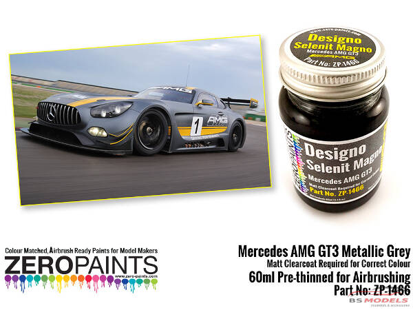 ZP1466 Mercedes AMG  GT3 Metallic Grey (matt) paint 60 ml Paint Material