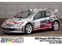 """ZP1485 Peugeot 206  WRC 2001 """"Platinum Silver""""   60 ml Paint Material"""