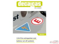 DCLLOG004 Fire extinguisher and battery cutt off logo decals Waterslide decal Decal