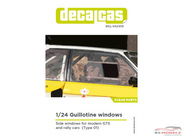 DCLVAC013 Guillotine windows for modern GTS and rally cars - clear part Multimedia Accessoires