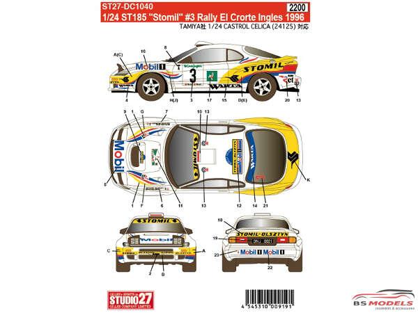 "STU27DC1040 Toyota ST185  ""STOMIL""  #3  El Corte Ingles  1996 Waterslide decal Decal"
