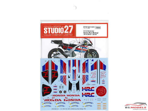 STU27DC1211 Honda RC213V  Demo run Motegi  #14  2015/2016 Waterslide decal Decal