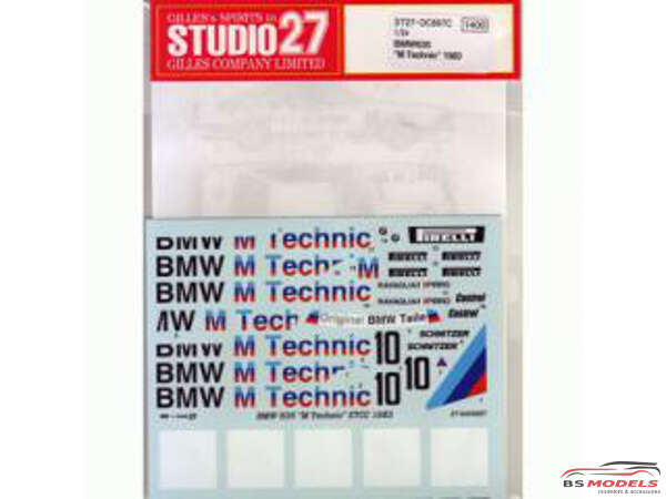"STU27DC697C BMW 635 Csi  ""M Technic""  ETCC  1983 Waterslide decal Decal"