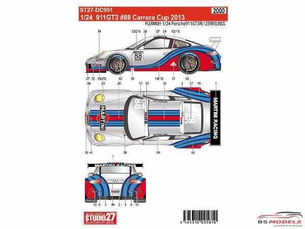 STU27DC991 Porsche 911 GT3 #88 Carrera Cup 2013  S. Loeb Waterslide decal Decal