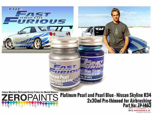 ZP1463 Fast & Furious Pearl Platinum/blue paint set 2x30 ml Paint Material