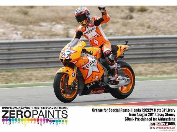 ZP1506 Special Orange repsol Honda RC212V  MotoGP Aragon 2011 Casey Stoner  60ml Paint Material