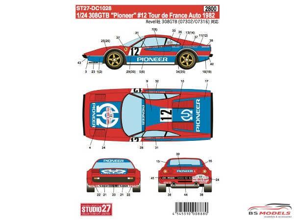 "STU27DC1028 Ferrari 308GTB  ""Pioneer"" #12  2nd TDF 1982 Waterslide decal Decal"