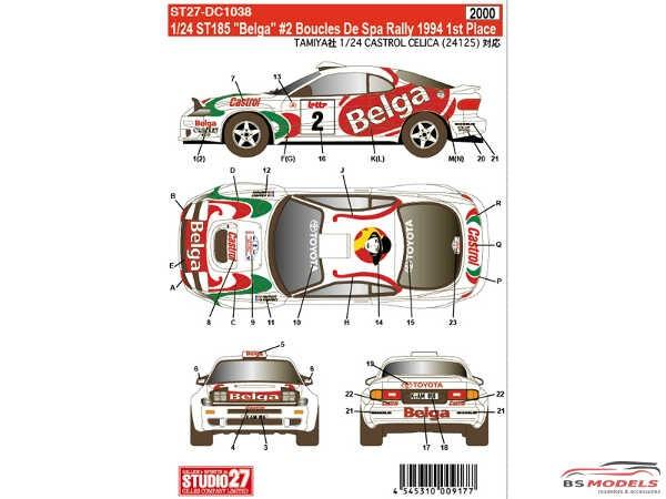 "STU27DC1038 Toyota ST185 ""Belga"" #2 winner Boucles de Spa 1994 Waterslide decal Decal"
