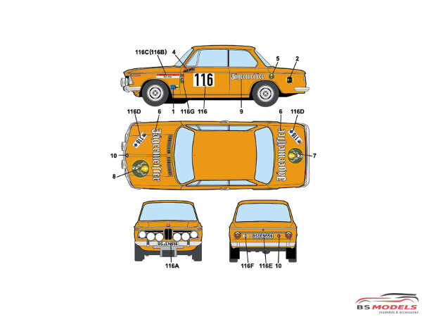 "STU27DC1216 BMW 2002 ti #116#260 ""Jaegermeister"" Olympia Rally 1973 Waterslide decal Decal"