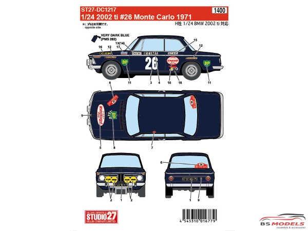 STU27DC1217 BMW 2002 ti #26  Monte Carlo 1971 Waterslide decal Decal