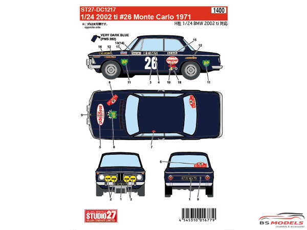 STU27DC1217 BMW 2002 ti #26  Monte Carlo 1971 Waterslide decal Decal