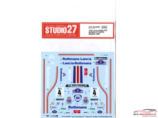 "STU27DC394D Lancia 037 ""Rothmans""  Rally Costa Brava 1985 Waterslide decal Decal"