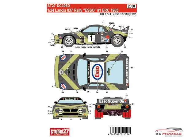 "STU27DC396D Lancia 037 ""Esso"" #1  ERC 1985 Waterslide decal Decal"