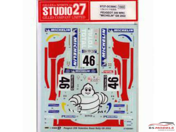 "STU27DC598C Peugeot 206 WRC ""Michelin"" Rossi  Rally GB 2002 Waterslide decal Decal"