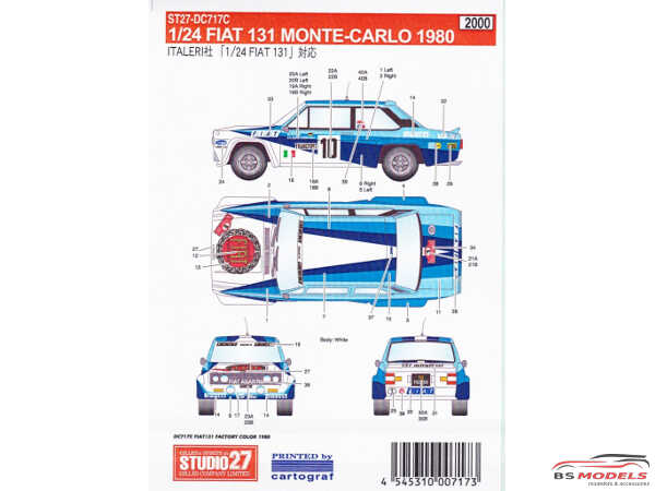 STU27DC717C Fiat 131 rally Monte-Carlo 1980  Factory colors Waterslide decal Decal