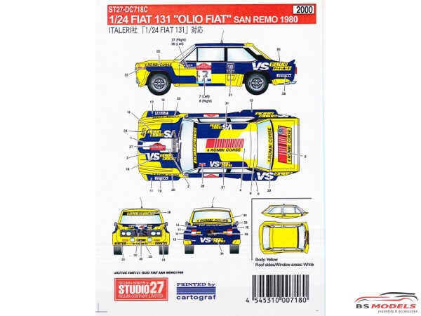 "STU27DC718C Fiat 131 rally  San Remo 1980  ""Olio Fiat"" Waterslide decal Decal"