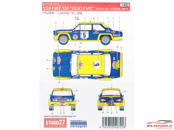 "STU27DC721C Fiat 131 rally Tour de Corse 1977 ""Factory color"" Waterslide decal Decal"