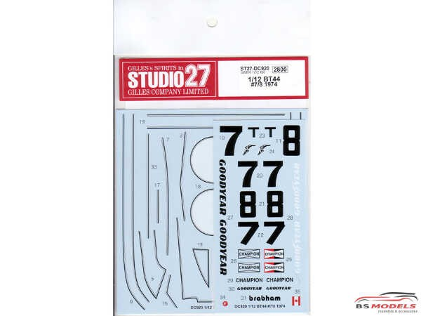 STU27DC920 Brabham BT44 #7 #8 1974 Waterslide decal Decal
