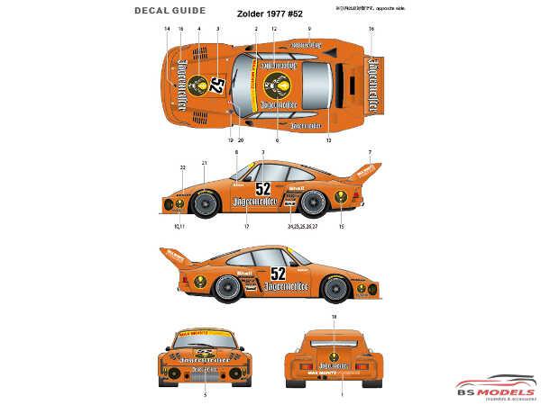 """STU27SDT2475 Porsche 935 """"Jaegermeister""""  #52  Zolder 1977 spare decal Waterslide decal Decal"""