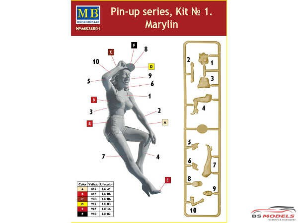 "MB24001 Marylin  ""Pin Up series""  figure Plastic Kit"