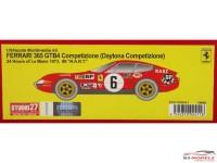 STU27FR2411 Ferrari 365 GTB4 Daytona Competizione  #6   NART LM 1973 Resin Kit