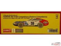 "STU27FR2414 Ferrari 365 GTB4 Daytona Competizione  #39    ""Ch Pozzi""   LM 1972 Resin Kit"