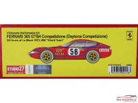 "STU27FR2418 Ferrari 365 GTB4 Daytona Competizione  #56    ""Shark Team""   LM 1973 Resin Kit"