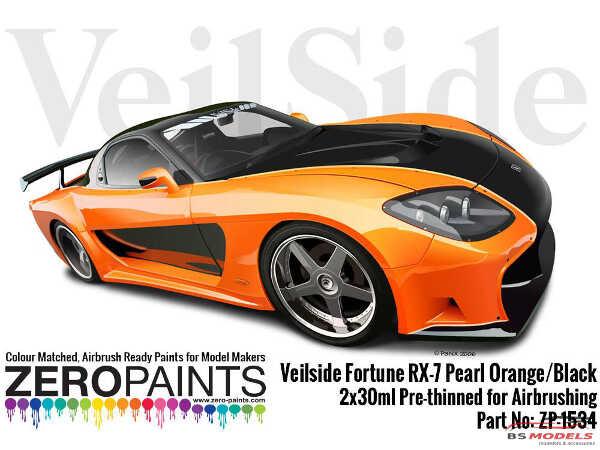 ZP1534 Veilside Fortune RX-7 Pearl Orange/Black pearl paint set 2x 30ml Paint Material