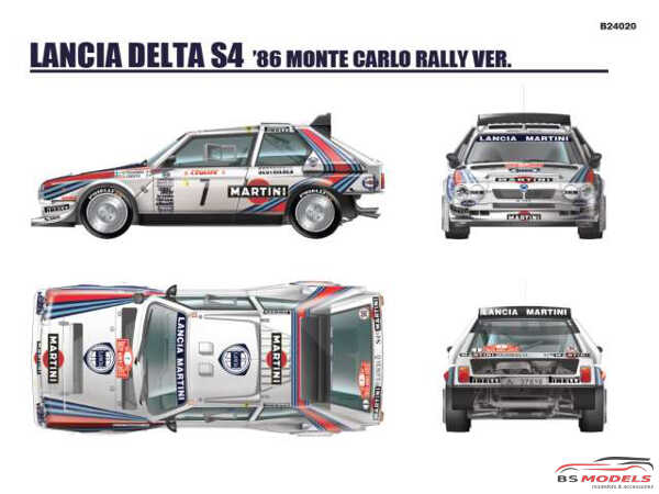 BEE24020 Lancia Delta S4   Martini racing team   Monte-Carlo 1986 Plastic Kit
