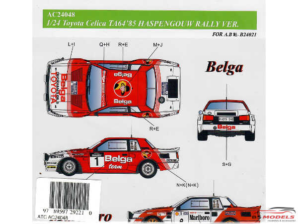 "AC24048 Toyota Celica TA64  Haspengouw Rally 1985 ""B l a and M r b"" logo's Waterslide decal Decal"